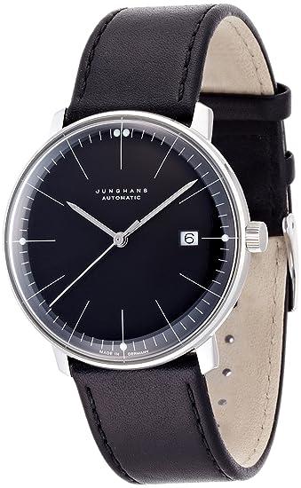 Junghans Reloj Max Bill 0274701.00 automático acero quandrante negro correa piel