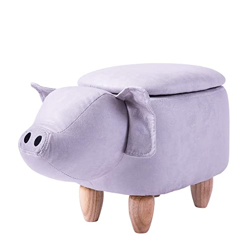 Merax Have-Fun Series Upholstered Ride-on Storage Ottoman Footrest Stool with Vivid Adorable Animal Shape Grey, Pig