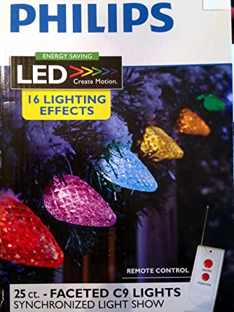 Image Unavailable - Amazon.com: 25ct Multi LED Faceted C9 String Lights W/ Remote