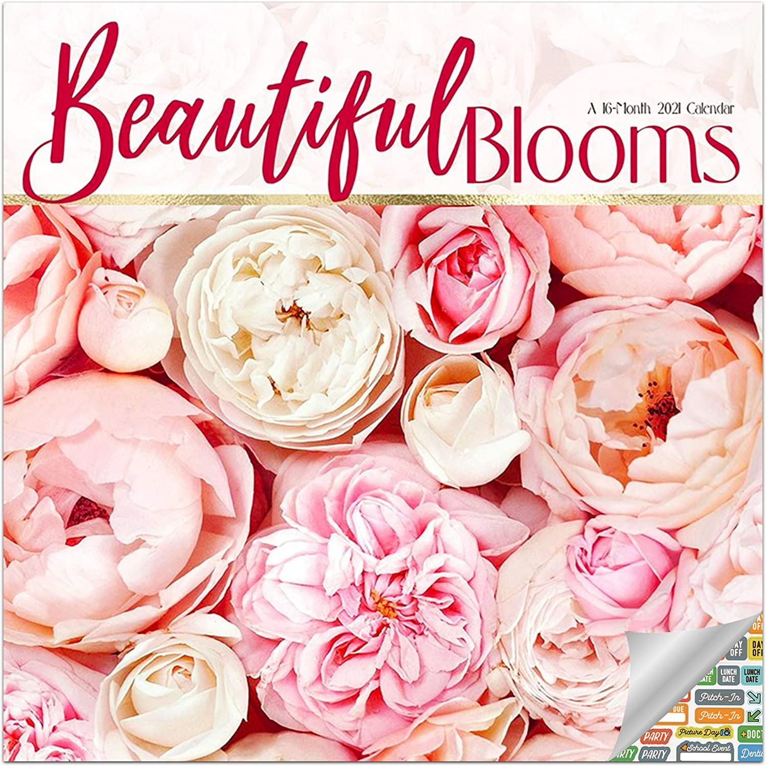 Beautiful Blooms Calendar 2021 Bundle - Deluxe 2021 Flower Bouquets Wall Calendar with Over 100 Calendar Stickers (Gardening Gifts, Office Supplies)