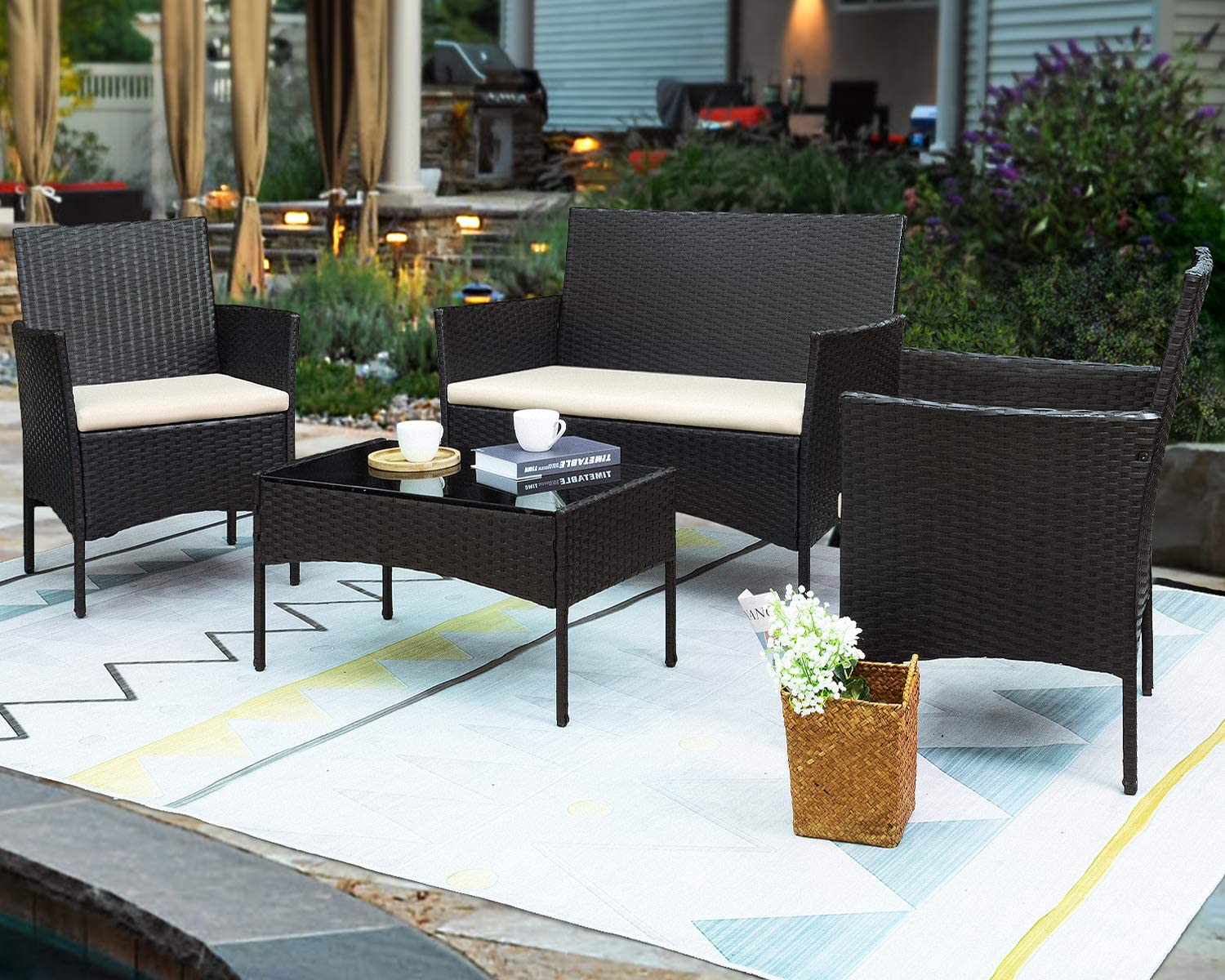 Greesum GS-4RCS0BG 4 Pieces Patio Outdoor Rattan Furniture Sets, Black and Beige