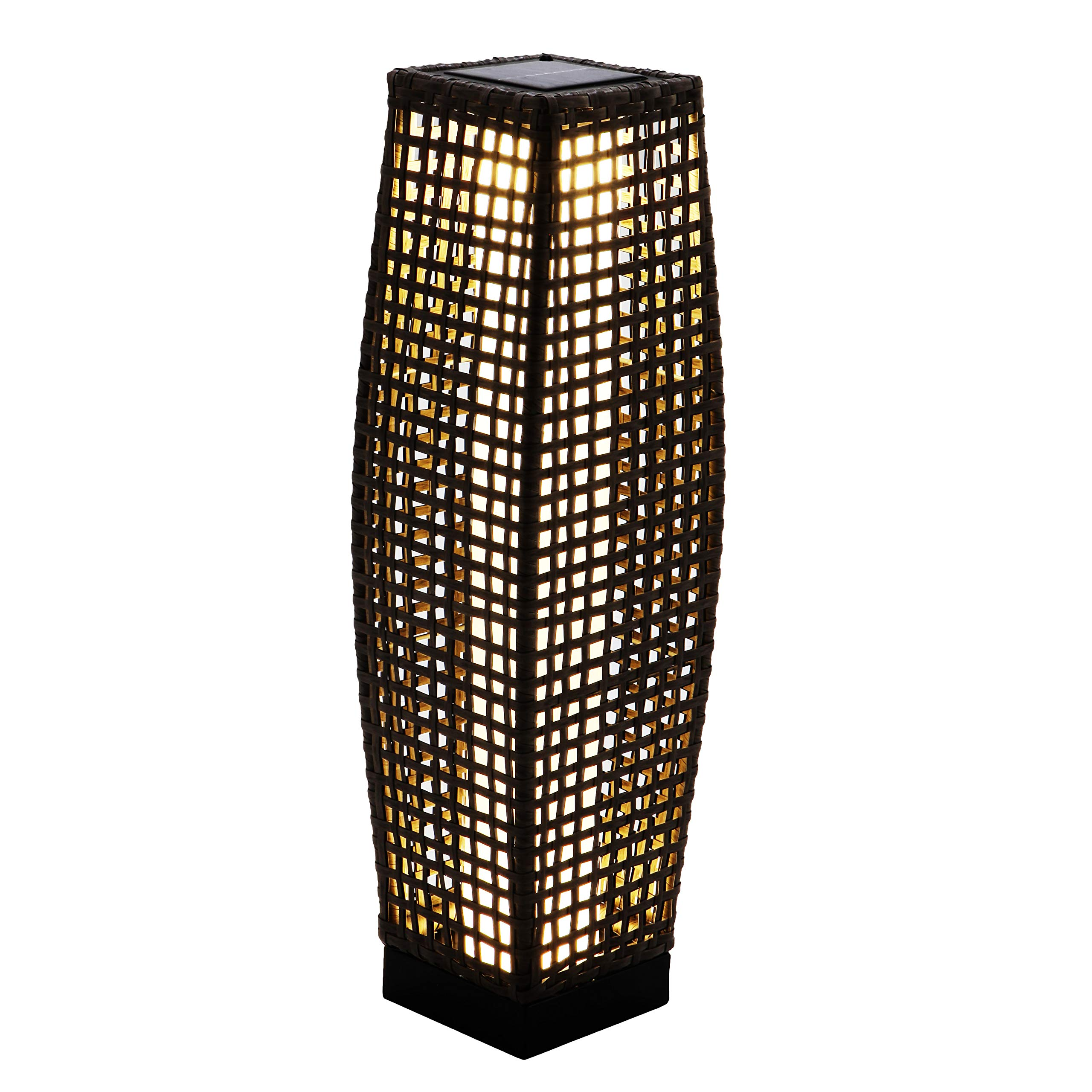 Grand Patio Bright Outdoor Floor Lamp Large-Sized, Solar Powered Lamp Light, Weather-Resistant Rattan Floor Lamp for Patio, Deck, Path and Garden
