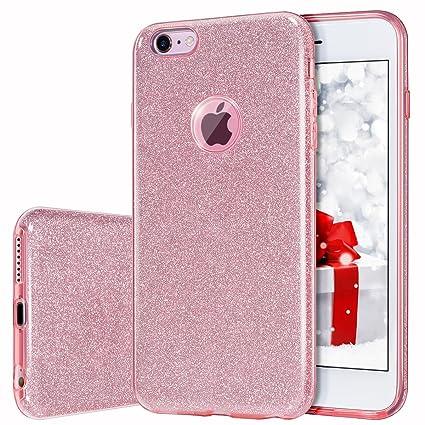 MILPROX iPhone 6s Hülle, Glitzer-Schutzhülle [DREI-Schicht-Hybridstruktur] Slim Kristallklar TPU+ Bling glitzerpapier + Frost