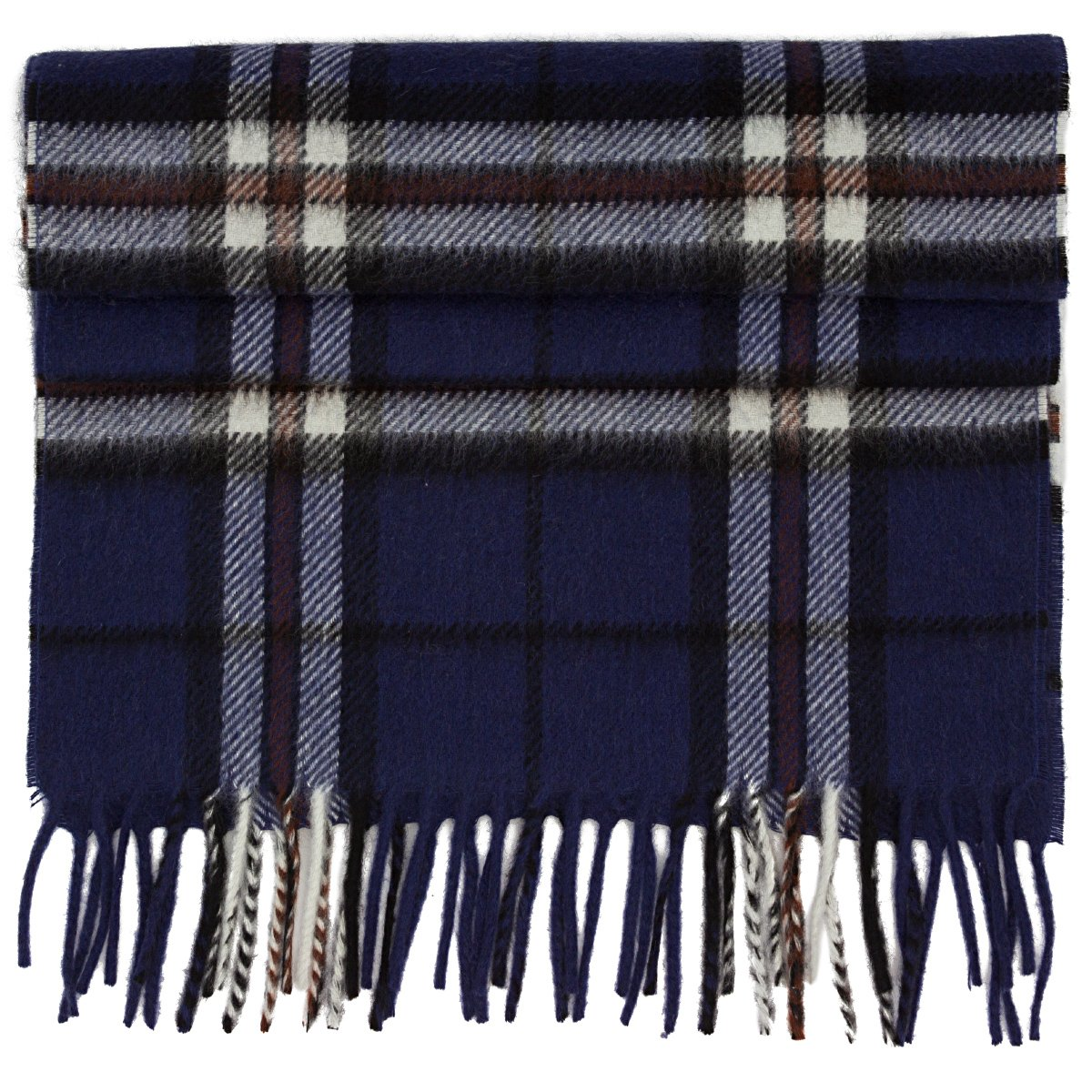 Chelsey Mens 100% fine Cashmere Winter Scarf in blue plaid