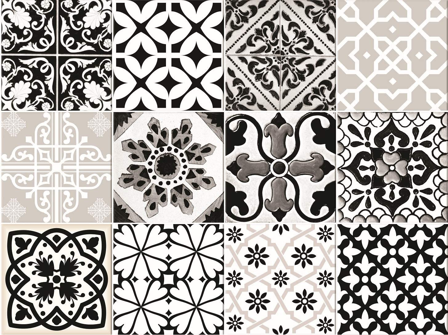 Mi Alma Black & White Collection Peel and Stick Tile Stickers 24 PC Set backsplash Tile Decals Bathroom & Kitchen Vinyl Wall Decals Easy to Apply Just Peel & Stick Home Decor (Line Decals, 4x4 Inch)