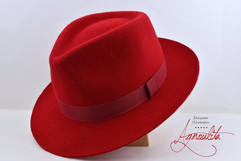 Red Teardrop Fedora - Wool Felt Handmade Fedora Hat