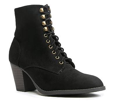 4b7b3e4d185aa J. Adams Brady Ankle Bootie - Suede Lace Up Closed Toe Block Heel Ankle Boot