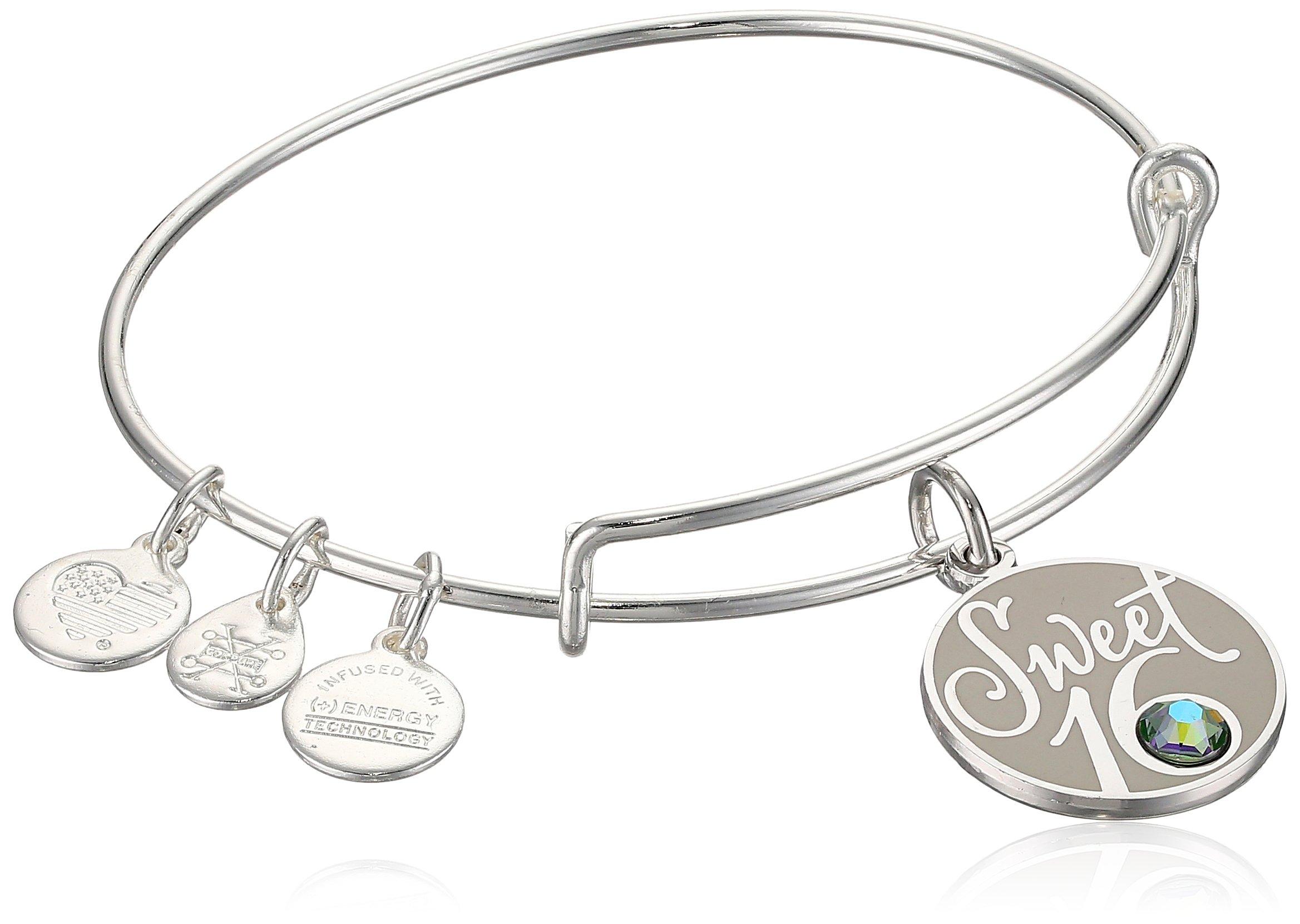 Alex and Ani Womens Sweet 16 EWB Bangle Bracelet, Shiny Silver, Expandable by Alex and Ani