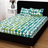 Story@Home Candy 120 TC Cotton Double Bed Sheet with 2 Pillow Covers - Geomatric Circles (Geomatric)