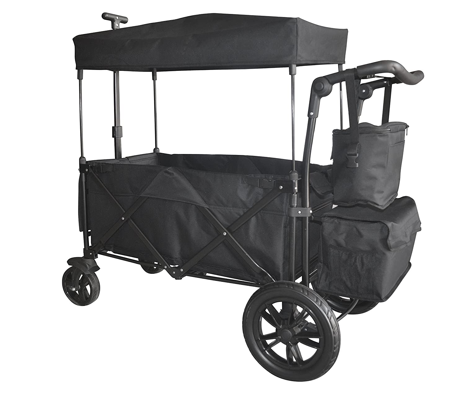 BLACK PUSH AND PULL HANDLE/FOOT BRAKE FOLDING WAGON BABY STROLLER UTILITY CARTFREE CARRYING BAG WagonBuddy