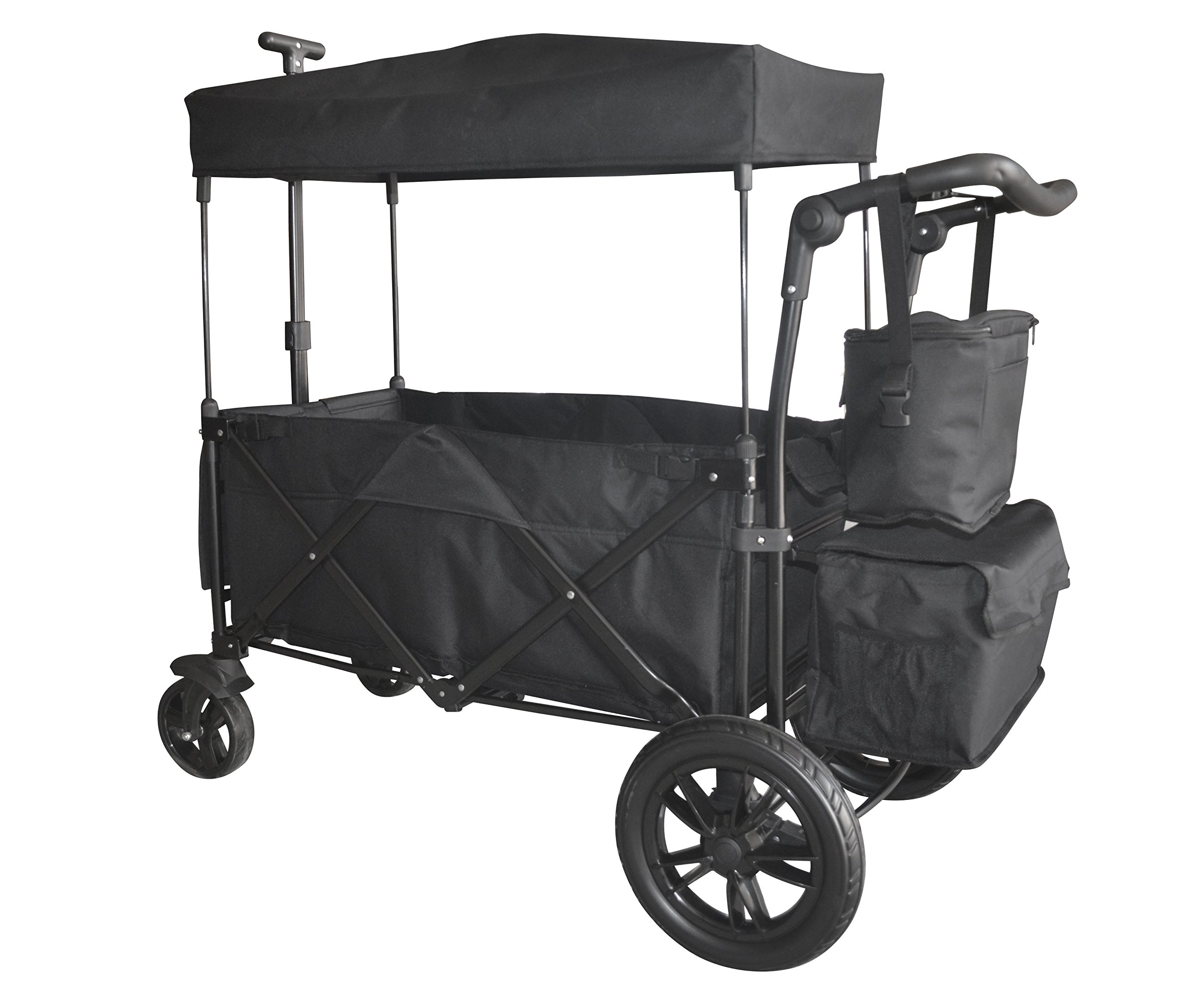 Black Push and Pull Handle/Foot Brake Folding Wagon Baby Stroller Utility CARTFREE Carrying Bag by Wagon Buddy