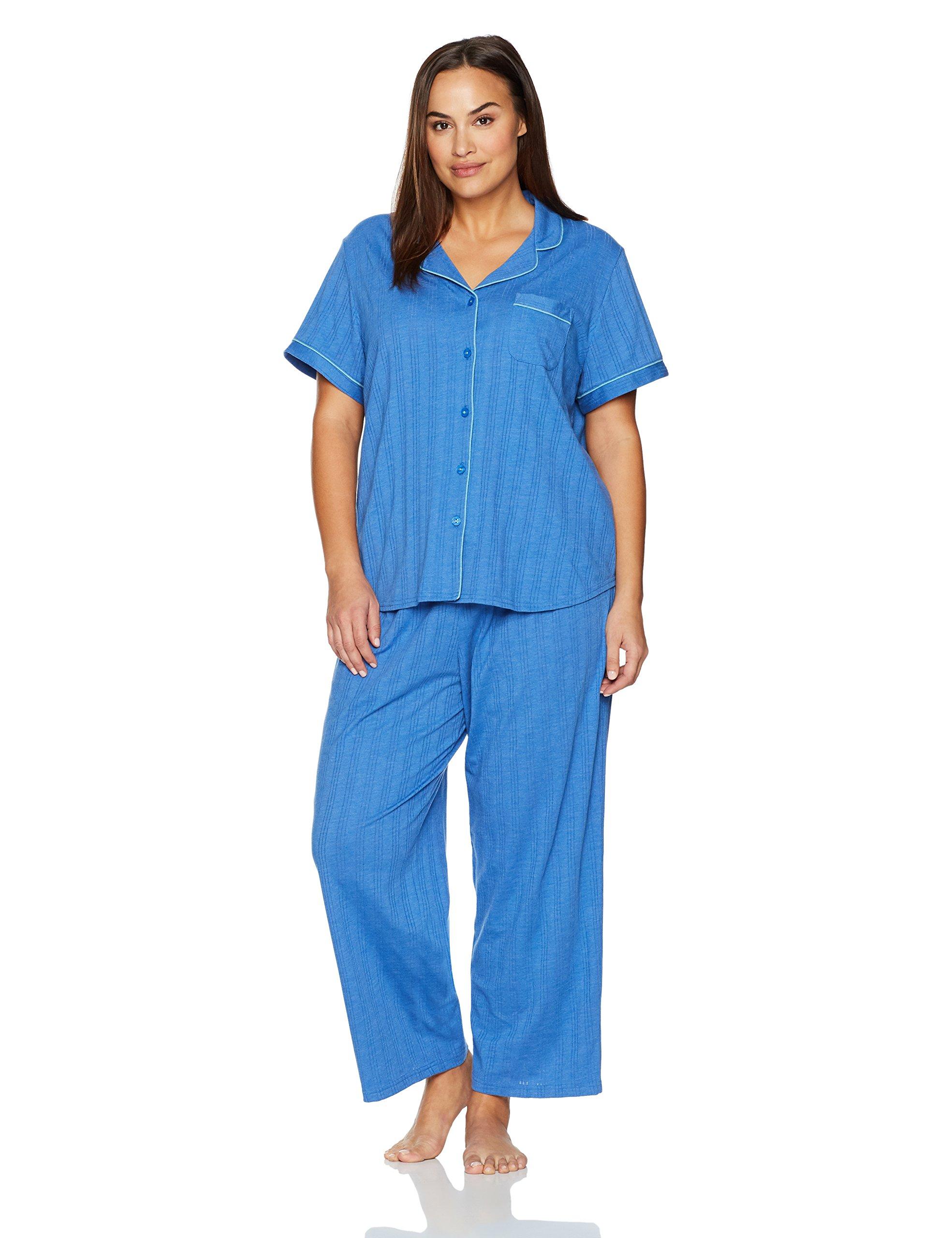 Karen Neuburger Women's Plus Size Pajamas Set Pj, Bay Blue Heather, 2X