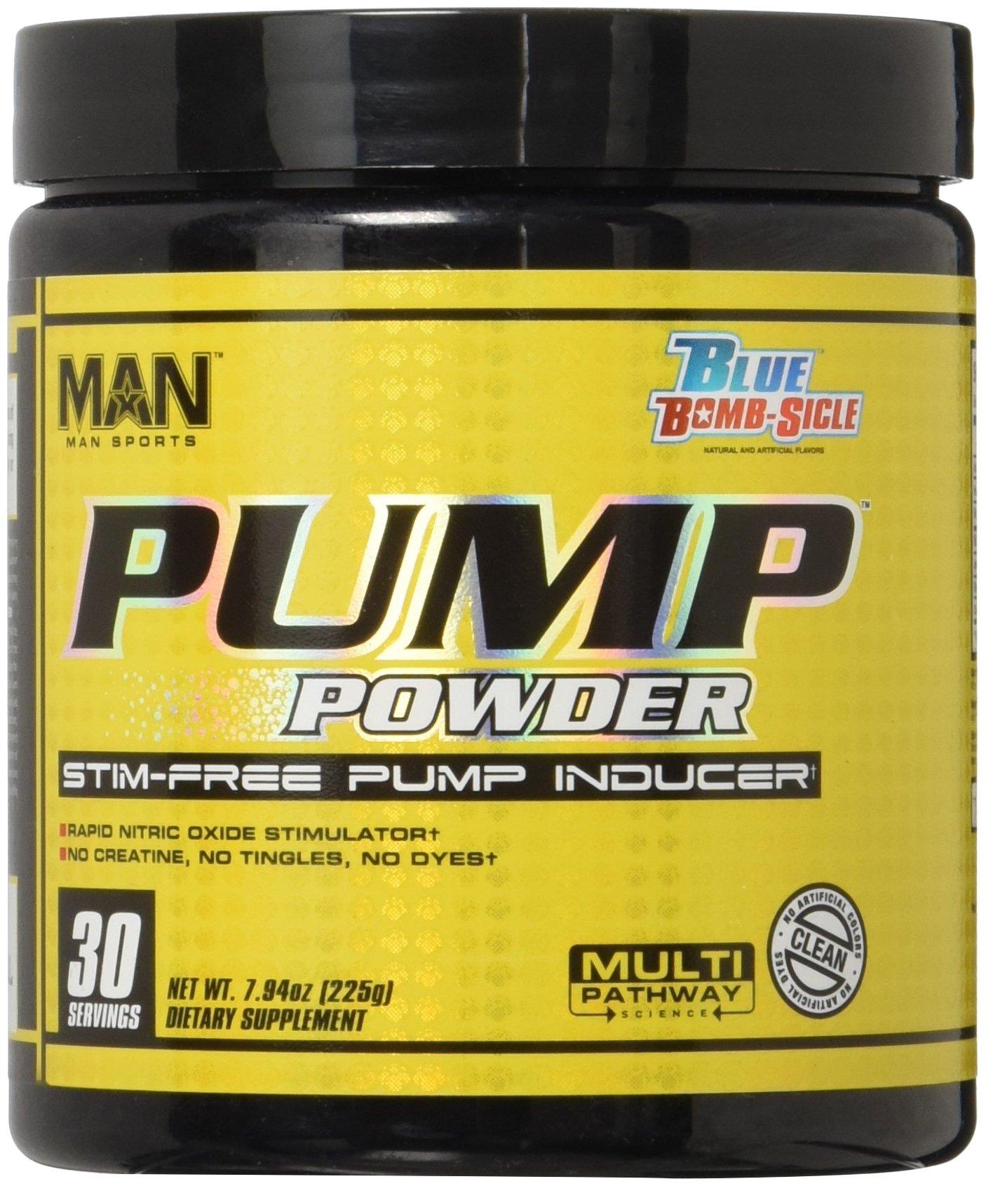 MAN Sports Pump Powder Stimulant-Free Pre-Workout Nitric Oxide Supplement, Blue Bomb-Sicle, 30 Servings, 225 Grams