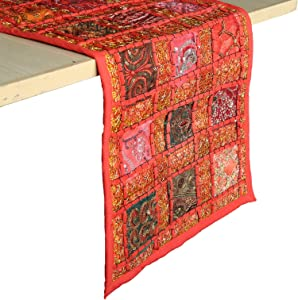 RAJRANG BRINGING RAJASTHAN TO YOU Vintage Style Rajasthani Patchwork Table Runner - Decorative Luxury Coffee Table Placemat Hand Embroidered Colorful Red Cotton Hippie Decor 12 X 72 Inches