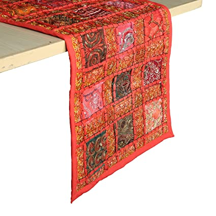 RAJRANG Red Patchwork Table Runner Vintage Style Decorative Coffee Table Placemat 12 X 72 Inches Hand Embroidered Colorful Cotton Hippie D�cor Runner