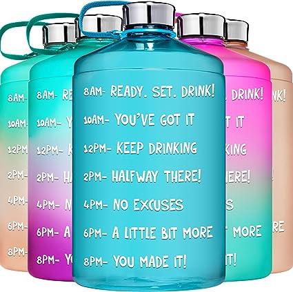 Leak-Proof Gallon Water Bottle Motivational Time Marker Wide BPA Large 128 Oz
