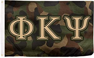 Phi Kappa Psi Camo Letter Fraternity Flag Banner 3 feet x 5 feet Sign Decor Phi Psi (Flag - Camo)