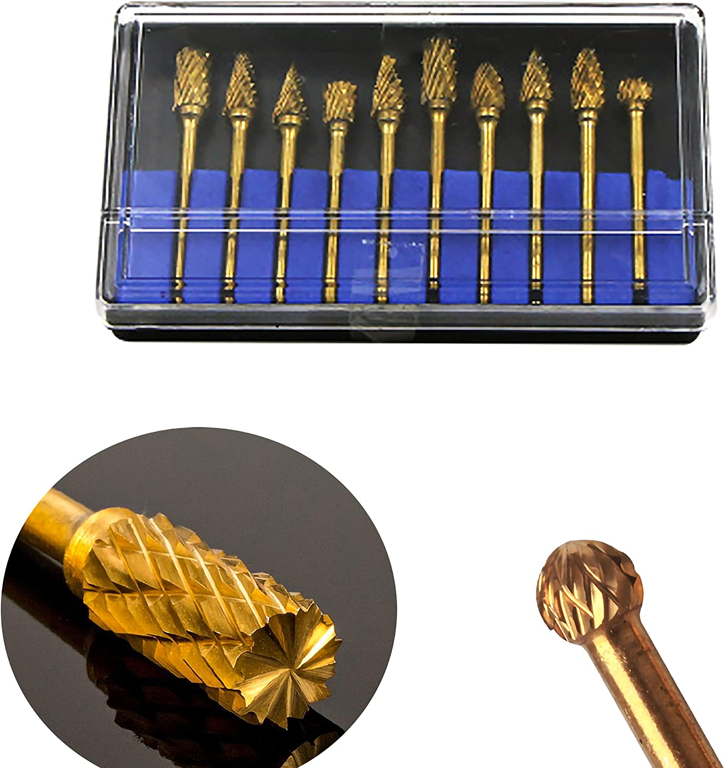 1//8 Inch Woodworking KEWAYO 10 Pieces Tungsten Carbide Rotary Burr Set Shank and 6 mm 1//4 Inch Engraving Drilling 3mm Polishing Head Length for Metal Carving
