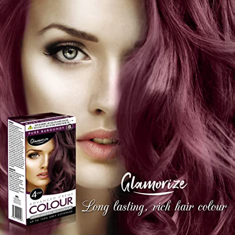 Tinte para el cabello de color borgoña, fácil de usar, resistente a la decoloración
