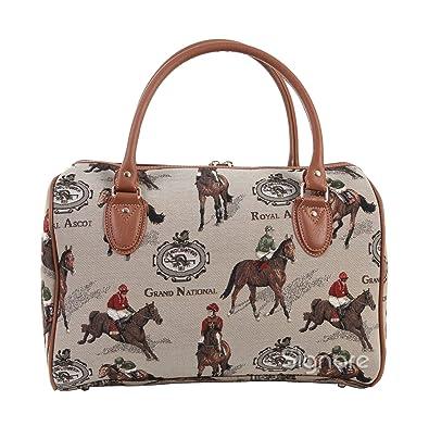 4e8c017de1a6 Signare Womens Ladies Tapestry Fashion Weekend Handbag Travel Bag Horse  Racing Design: Amazon.co.uk: Shoes & Bags