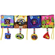Lamaze Baby Toys - Discovering Shapes Crib Gallery and Activity Puzzle – Baby Toy with Patterns, Colors and Sounds to Stimulate Brain Activity - Tie Onto Baby Crib - Recommended Age 0-24 Months