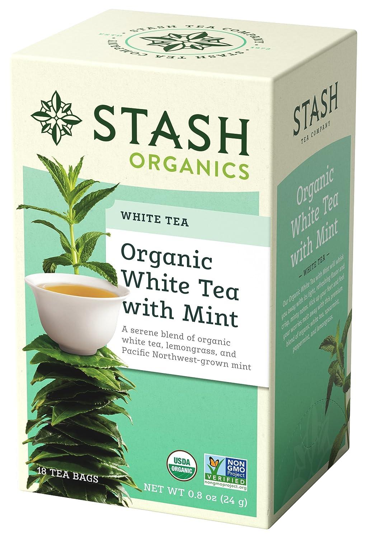 Stash Tea Organic White Tea with Mint 18 Count Tea Bags in Foil (Pack of 6) Individual Organic White Tea Bags
