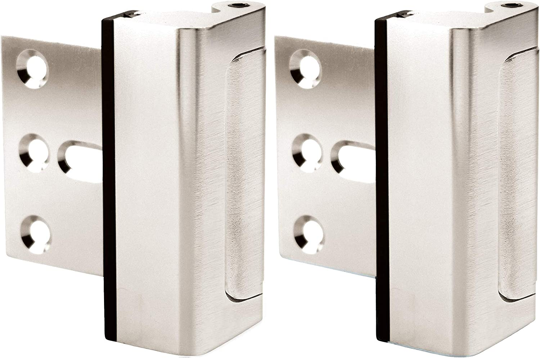 Door Lock for Home Security (2-Pack) - Easy to Install Door Latch Device, Aluminum Construction, Satin Nickel Door Locks for Door Security | Child Proof & Tamper Resistant, Satin Nickel Door Locks