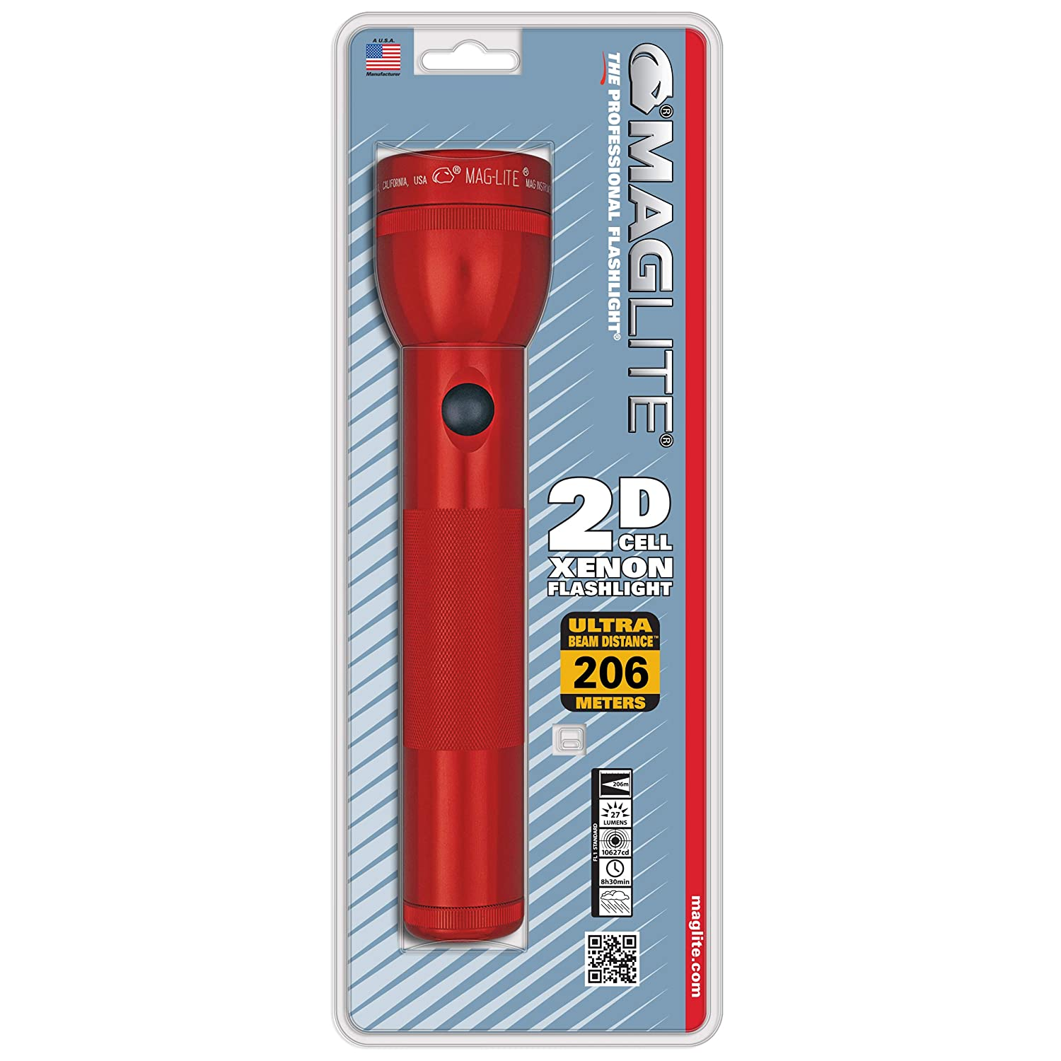 Maglite Heavy-Duty Incandescent 2-Cell D Flashlight, Red