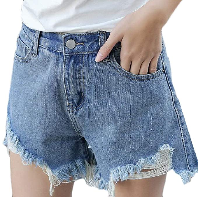 347eb7f5 Hajotrawa Womens Wide Leg High Rise Short Pants Washed Cutoff Denim ...