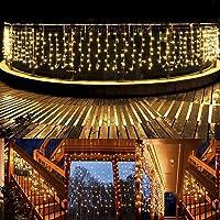 B-right Cortina de Luces, 10M*0.8M, 480 LEDS, Blanco Cálido, con Control Remoto, 8 Modos de Luces, Resistente al Agua,Cortina Luces LED para Decoración Fiesta, Jardín,Habitación,Bar, Navidad,Boda,et