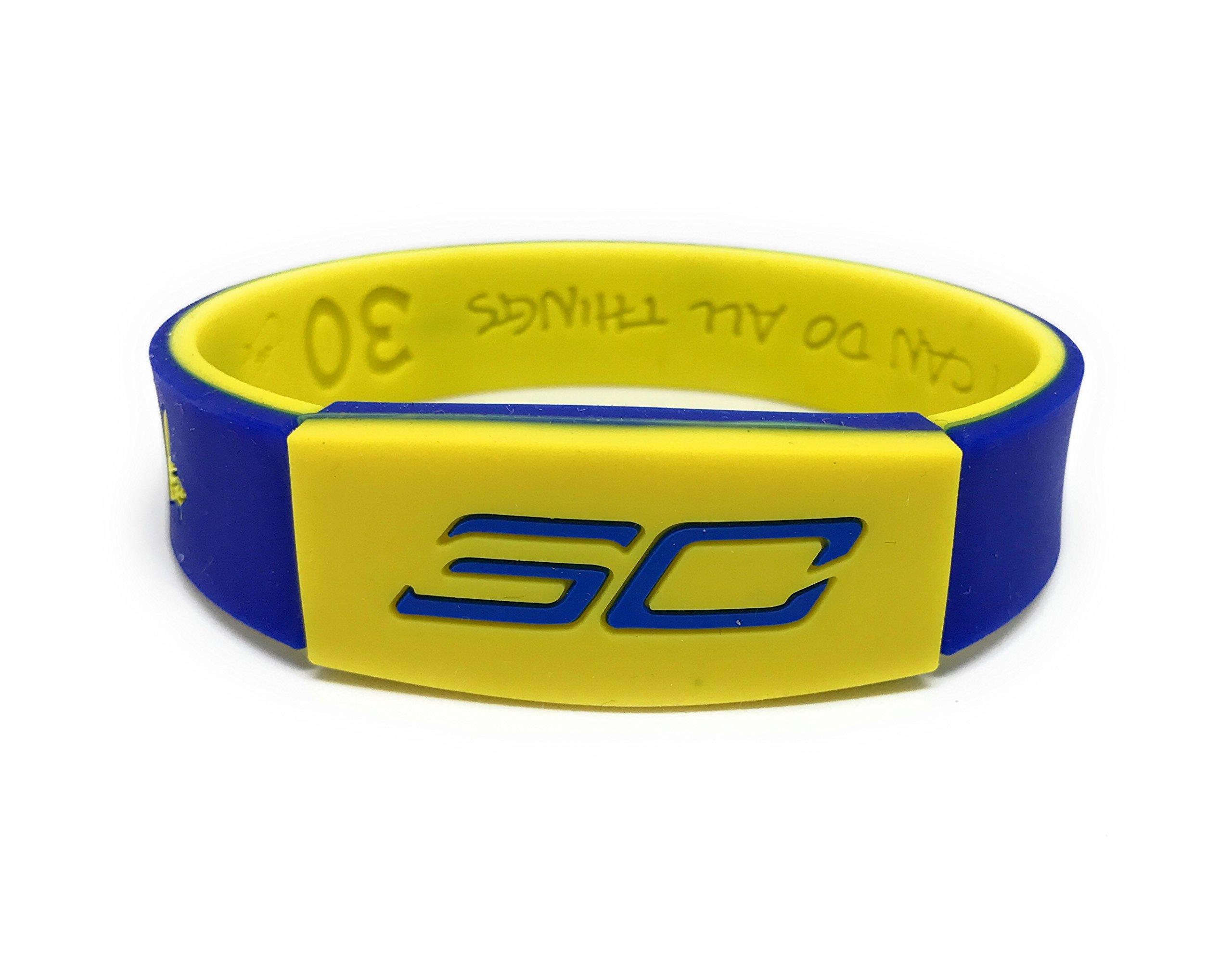 SportsBraceletsPro KIDS REVERSIBLE Wristband SIZE 6.7'' Bracelet (Curry KID 6.7'' Blue/Yellow)