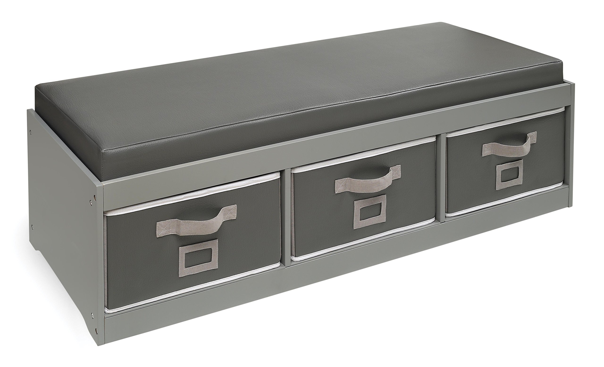 Badger Basket Kid's Storage Bench with Cushion and Three Bins, Gray