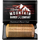 Beard Comb - Natural Sandal Wood for Hair with a Scented Fragrance Smell with Anti-Static & No Snag, Handmade Fine/Medium Too
