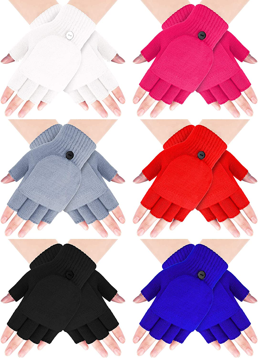 6 Pairs Women Winter Flip Gloves Convertible Mittens Thick Knitted Half Finger Gloves with Cover