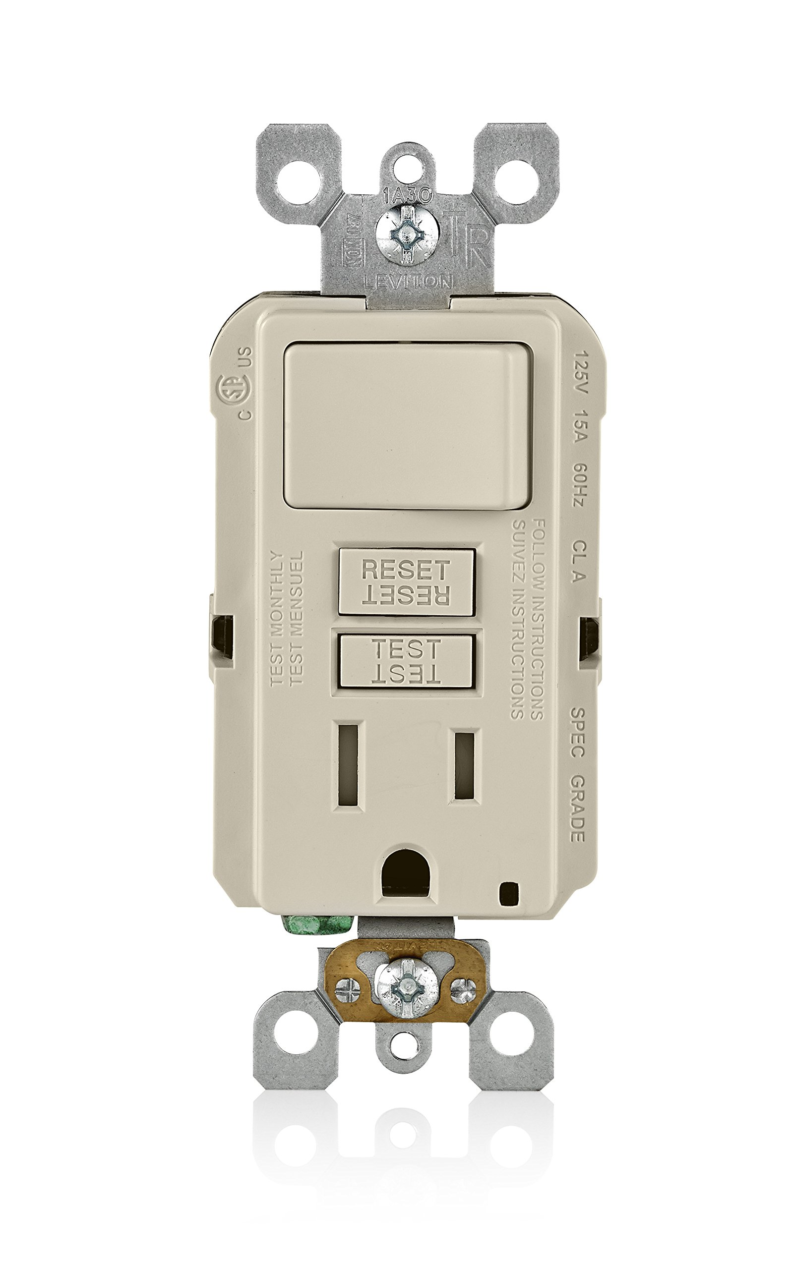 Leviton GFSW1-T 15-Amp Self-Test Smartlockpro Slim GFCI Combination Switch Tamper-Resistant Receptacle with LED Indicator, 20-Amp Feed-Through, 3 Pack, Light Almond