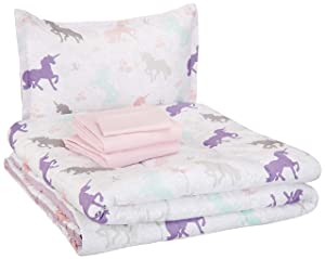 AmazonBasics Easy-Wash Microfiber Kid's Bed-in-a-Bag Bedding Set - Twin, Purple Unicorns