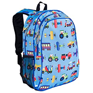 Wildkin 15 Inch Backpack, Extra Durable Backpack with Padded Straps and Interior Moisture-Resistant Lining, Perfect for School or Travel, Olive Kids Design – Trains, Planes, & Trucks