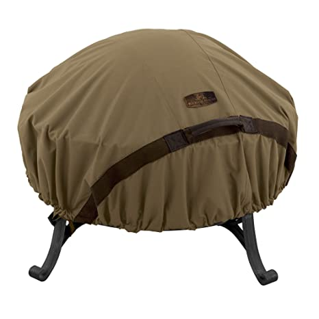 Classic Accessories Hickory Heavy Duty Round Fire Pit Cover   Durable And  Water Resistant Patio Cover