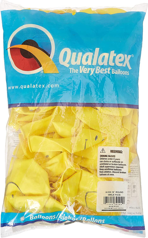 "Yellow Smile Face Qualatex 16/"" Latex Balloons x 50"