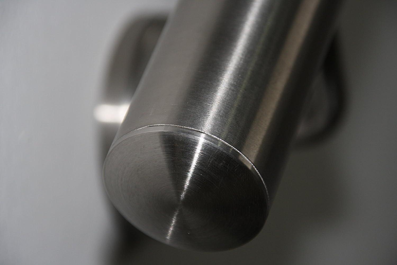 Pasamanos de acero inoxidable V2A de 42,4/mm pulido en grano 240 pasamanos de pared de dividido con tapas ligeramente curvadas
