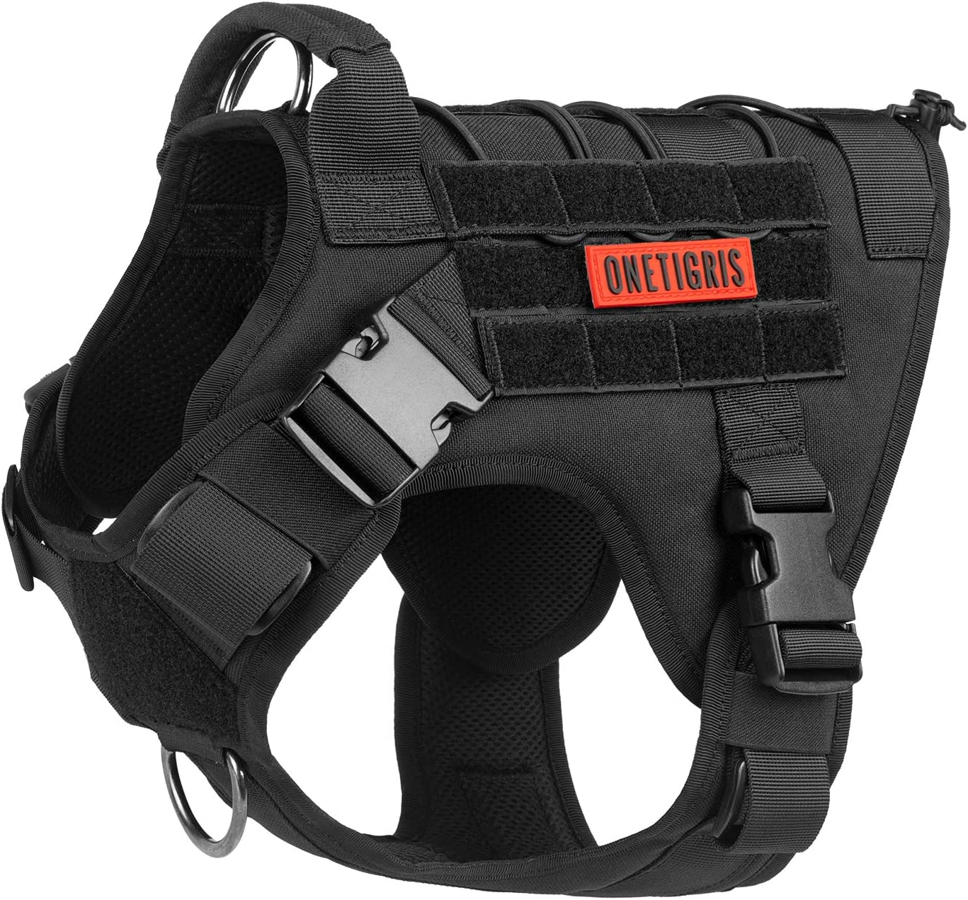 Image of the OneTigris Tactical Dog Harness Vest with Handle in black color, with brand patch in red color attached to it. Buckles and D-rings visible on one side.
