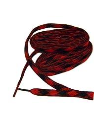 60 Inch 183 cm Argile Boot Laces Shoelaces 10 mm Wide Durable - 2 Pair Pack (RED BLACK ARGILE)