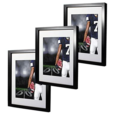 11x14 Black Picture Frames with 8x10 Mat for Wall and Table Stand Photo Artwork Display Set of 3 Pack