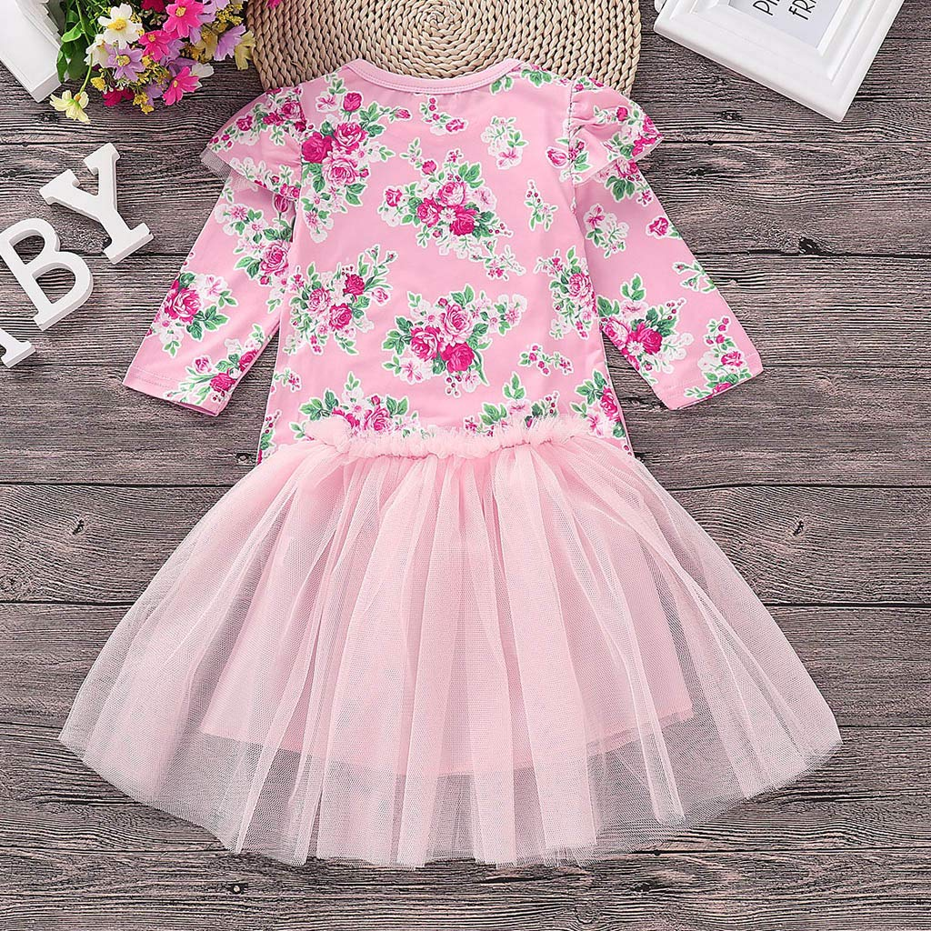 Toddler Kids Baby Girl 12 Months-5T Floral T Shirt Princess Tulle Party Dress Set Clothes