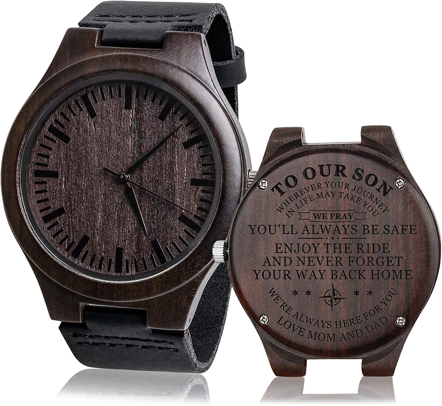 Engraved Mens Vintage Analog Quartz Wooden Wrist Watches Handmade Casual Men Father Watch with Cowhide Leather Strap Personalized Gifts for Men Husband Boyfriend Dad