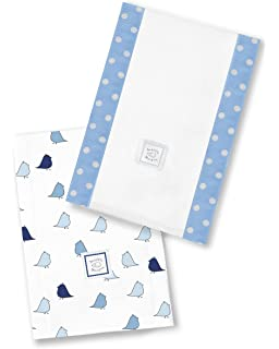 Bonjour Bunnie on Blue Set of 2 Cotton Burp Cloths SwaddleDesigns Baby Burpies