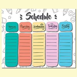 Weekly Schedule Poster – Hand Written – Large 16 x 20 – Laminated – Eraseable – for Kids – Classroom Decor – School Planner – Activity – to-Do List – Scheduling – Dorm Wall Art – Homework Organizer
