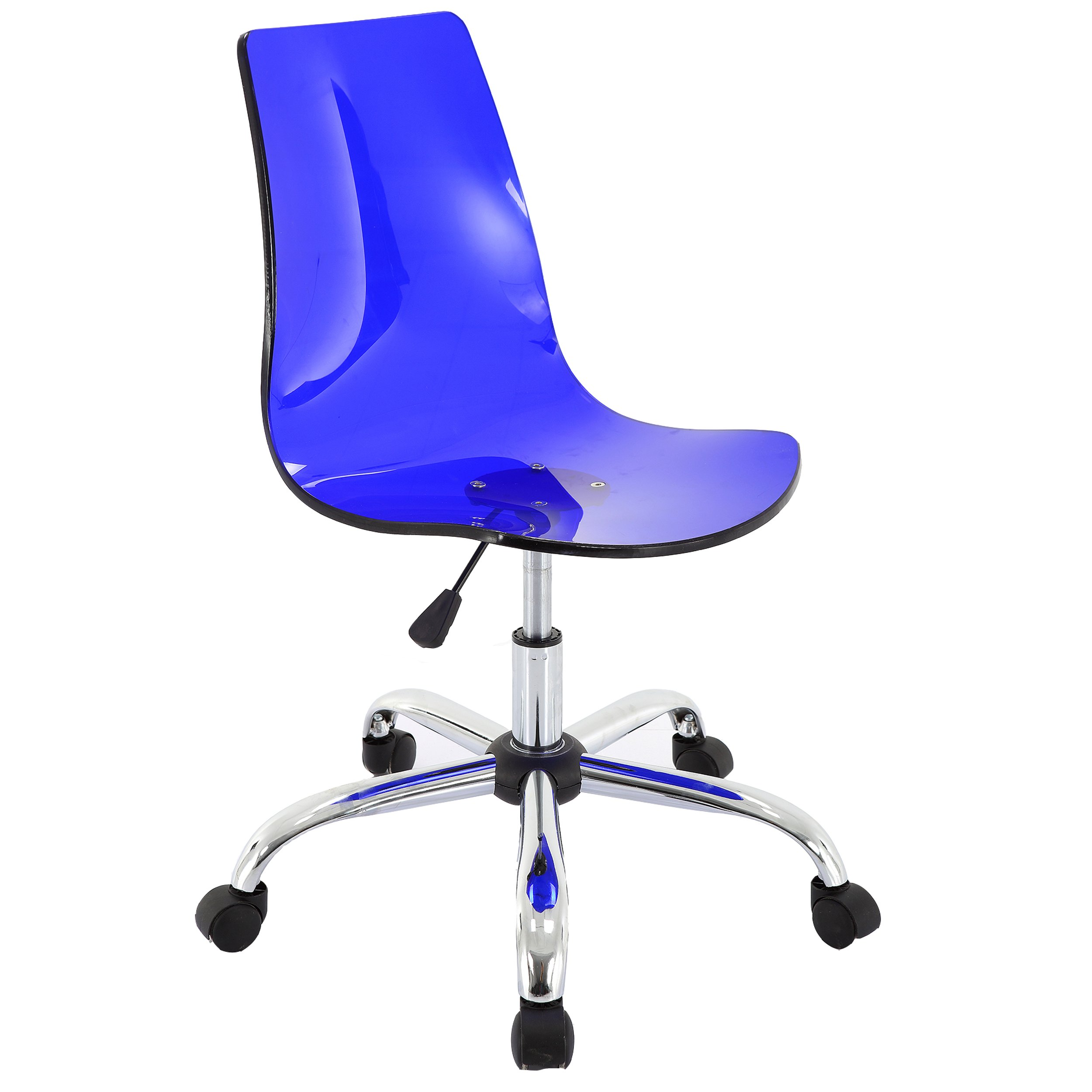 Vogue Furniture Direct Adjustable Blue Acrylic Swivel Chair-VF1551009