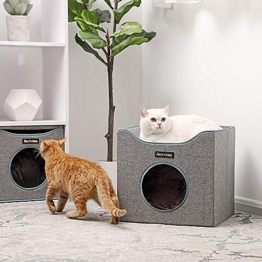 FEANDREA Cueva Plegable para Gatos, Casa para Gatos con Superficie Acostada y 2 Cojines Reversibles, Escondite para Gatos, 39 x 39 x 37 cm, Gris PCB04G: ...