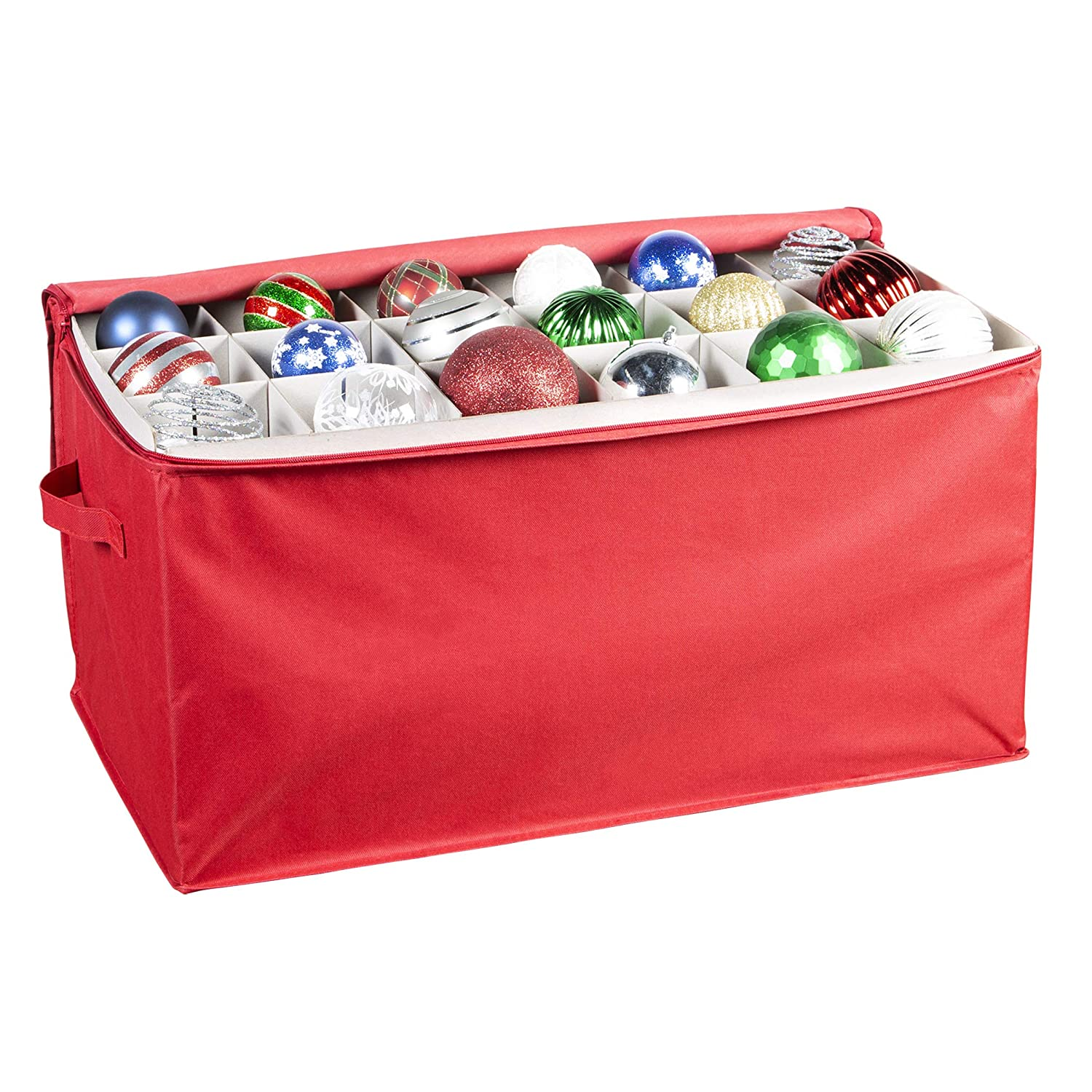 Richards Homewares Holiday Ornaments Storage Cube with 54 Individual Compartments - Made with 600 Denier Polyester Fabric - Convenient Handle Hold N Storage No Model